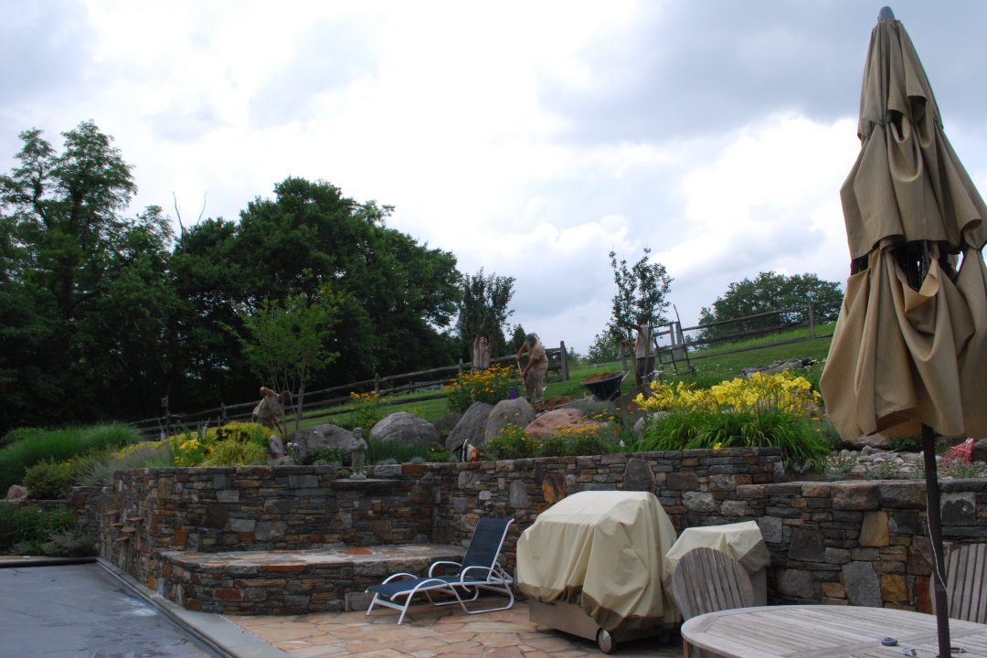stone wall and landscape design