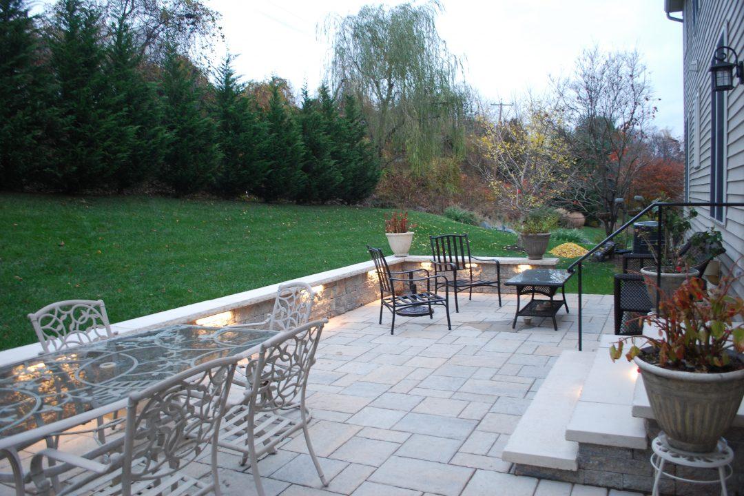 paver patio with lighting